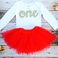 2 pieces Red tutu with long sleeve gold glitter one Onesuit, girls 1st Birthday outfit Valentine's Day girls first birthday outfit