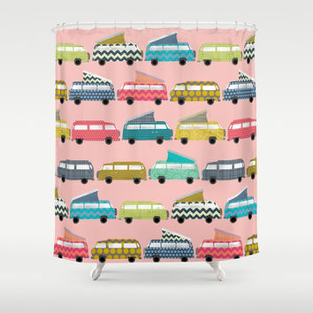 geo campers pink Shower Curtain by Sharon Turner | Society6