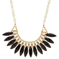 Black Fanned Faceted Stone Statement Necklace by Charlotte Russe