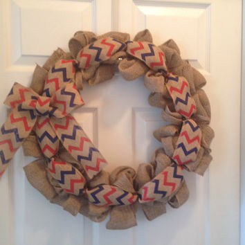 Burlap wreath with red and navy chevron bow