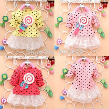 Kid Girls Korean Style Lollipop Polka Dot Dress Long Sleeve Princess Dresses