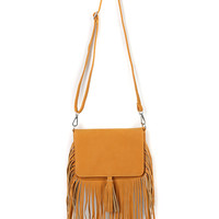 Khaki Tassel Embellished PU Satchel Bag