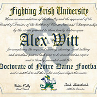 """Notre Dame Fighting Irish Ultimate Football Fan Personalized Diploma - Perfect Gift -8.5"""" x 11"""" Parchment Paper"""
