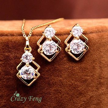 New Hottest Design Women's/Girl's 18k Yellow Gold Plated CZ Diamond Necklace + Earrings Wedding Jewelry Sets Gifts Free shipping