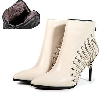 Genuine Leather High Heel Designer Booties