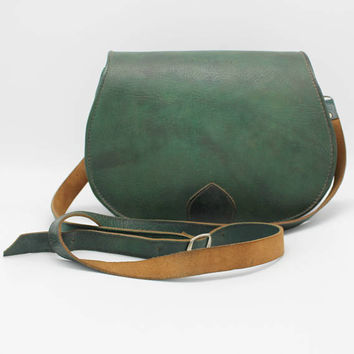 Green Leather Saddle Bag, Cross Body Bag, Leather Bag, Cross-body Bag, Women Handbag, Vintage style  bag,pochette femme half-moon bag