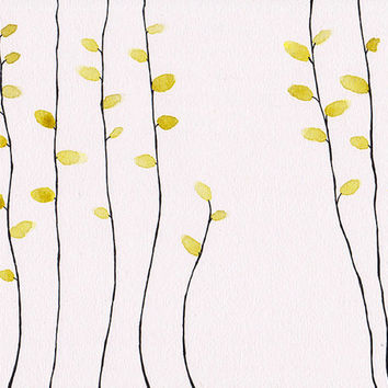 Minimalist 10x8 inches illustration of yellow leaves. Skinny branches drawing. Wall art for modern home. Dining room, living room.