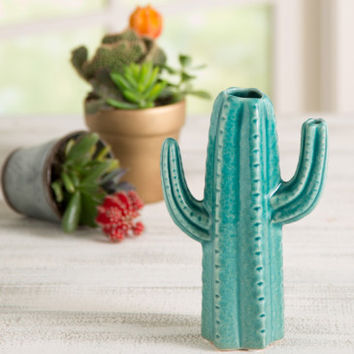 Blooming Cactus Vase Turquoise