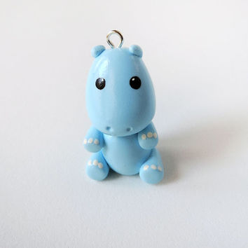 Cute Pastel Blue Hippo Charm Polymer Clay Animal