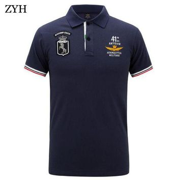 DCCKFS2 Men polo 2018 Summer High Quality Brand Cotton Polo Shirt Business Casual Pilot Polo Shirt Solid polo shirt Brand  clothing