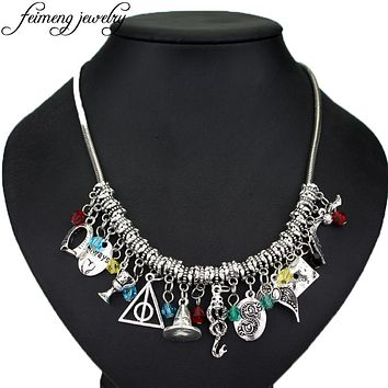 feimeng jewelry Hogwarts Charm Choker Necklace Magic Hat Deathly Hallows Slytherin Snake Horcrux Eagle Crown Pendant Necklace