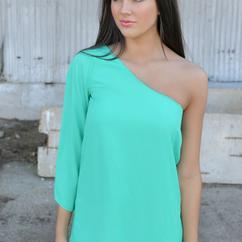 Light Jade One Shoulder Tunic