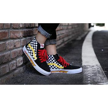 VANS X THRASHER New Trending Women Men Casual High Top Flame Skateboarding Shoes Sneakers I/A