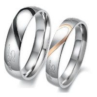 """Lover's Heart Shape Stainless Steel Couple Wedding Band Engraved Heart and """"Real Love"""" Engagement Anniversary Wedding Promise Ring, Men's 6"""