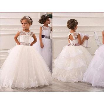 Under 60$ 2016 Fall vestidos comunion ninas Cheap Lace Flower Girl Dresses for wedding White First Communion Dresses For Girls