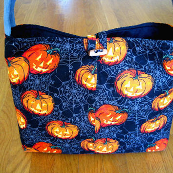 Novelty - Medium Tote Bag, Over Shoulder Purse - Halloween - Black, Orange Jack O' Lanterns, Pumpkins, Gray Cobwebs - 100% COTTON - USA Made