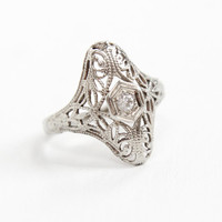 Antique 14K White Gold Diamond Filigree Shield Ring - Vintage Art Deco 1920s 1930s Size 3 1/4 Embossed Open Metal Fine Jewelry