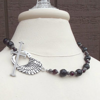 Gothic Cross Necklace: Angel Wing Goth Jewelry, Garnet Red & Black Chunky Beaded Statement Necklace