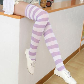 Fashion Stockings for Dating Christmas Halloween Knee Socks New Women Girl Striped Cotton Thigh High Stockings