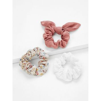 Multicolor Calico Hair Scrunchie 3pcs