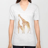 Mother and Baby Giraffes Unisex V-Neck by Susan Windsor