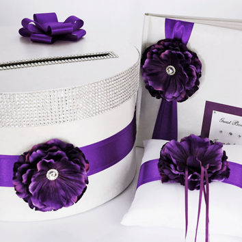 Wedding set - card box, ring pillow, guest book - purple / violet