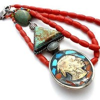 Coral & Turquoise Buffalo Nickel Pendant Necklace