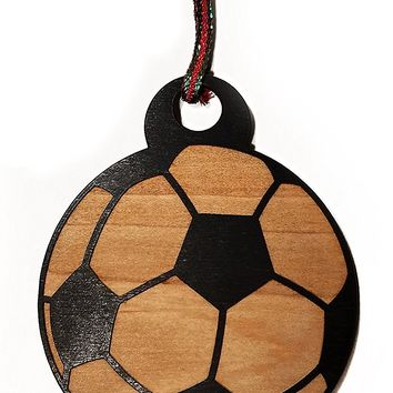 Soccer Ball Laser Engraved Black Painted Wooden Christmas Tree Ornament Gift Seasonal Decoration