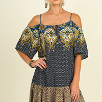 Umgee Boho in Provence Cold Shoulder Dress