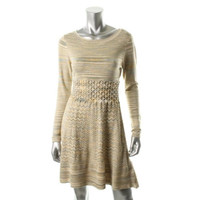 Jessica Simpson Womens Knit Long Sleeves Sweaterdress