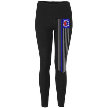 DCCKU3R EMS EMT Firefighter Thin Blue Lives Line Flag Womens Leggings