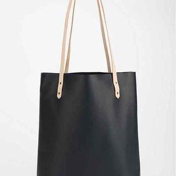 Cold Picnic Colorblock Leather Tote Bag-