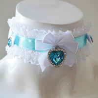 Ddlg day collar - Blue heart crystal - kitten pet play little princess cute kawaii lace frilled lolita adult choker - white and blue