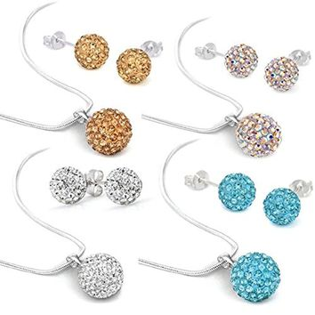 BodyJ4You 12PCS Pave Crystal Pendant Jewelry Set Necklace and 8mm Disco Ball Stud Earrings Gift