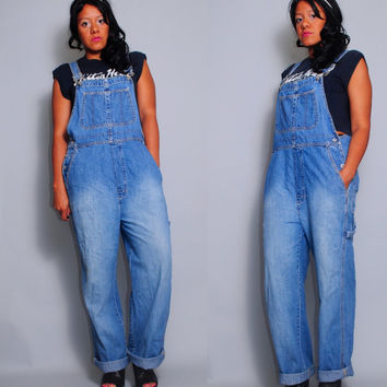 Vintage 1990s light denim GAP carpenter OVERALLS romper dungarees jumper grunge Medium