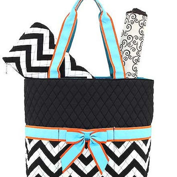 Monogrammed 3 Piece Quilted Chevron Diaper Bag Set~~Trendy~
