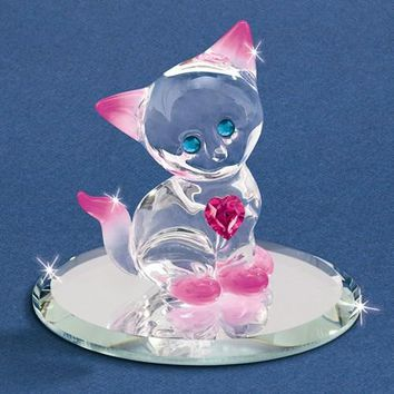 Pink Crystal Kitty Cat with Heart Glass Baron Figurine