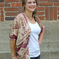 Aztec Cardigan - Dolman Style - Tan and Burgundy