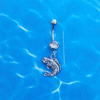 Leaping Large Mouth Bass Fish Navel Belly Button Ring for the Country Fishing Girl