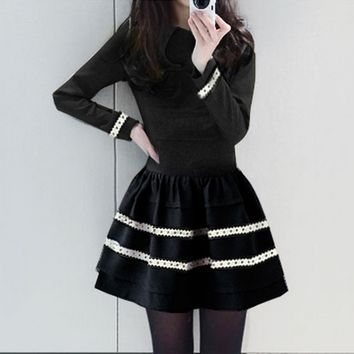 2016 Winter Clothes Sweet Long Sleeves Large Swing Dress
