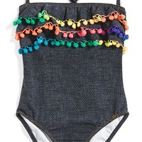 Toddler Girl's PilyQ Pompom Ruffle One-Piece Swimsuit