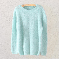 Womens Mint Green Mohair Knit Sweater