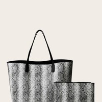 Snakeskin Print Tote Bag With Inner Clutch