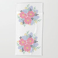 Vintage Pink Flowers Beach Towel by Smyrna