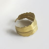 Shabby Chic Whimsical Feather Ring. Brass Wrap Around Finger Ring. Nature Woodlands Inspired Feather Ring