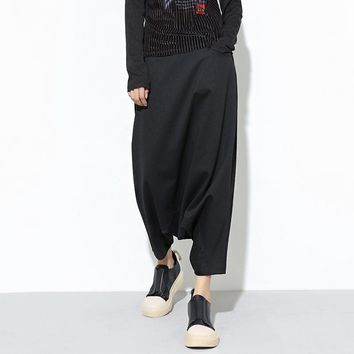 New Fashion Women Trousers Drop Bottom Harem Pants Elastic Waist Casual Loose Baggy Cropped Pants Black Streetwear Dance Costume