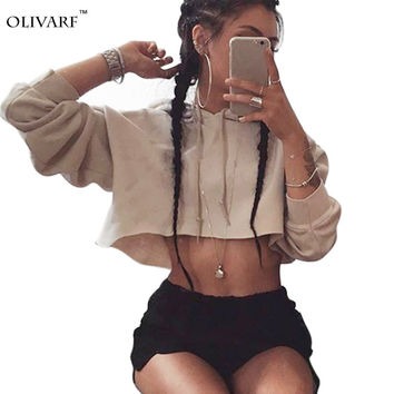 Hooded Cut Out Halter Short Sweatshirts Casual Pullovers Women Sudaderas Girls Hoodie Woman Cropped Tops Tracksuits Female