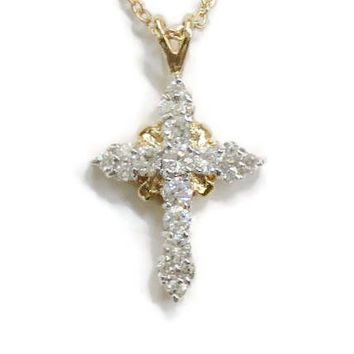 14K Gold Plated CFJ Lind Cross Pendant Necklace, With Cubic Zirconias