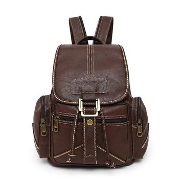 Vintage Leather Backpack Retro Rucksack