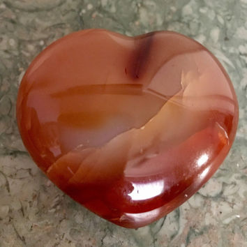 Carnelian Heart-Large and Beautiuful. Size 55-60MM Large. Puffy Crystal Heart w/ FREE Affirmation Card and Bag. Healing Crystals. #B
